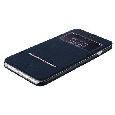 包邮支持礼品卡 BASEUS/倍思 苹果6手机壳iphone6s plus手机套 iphone6 plus 外壳翻盖皮套保护套简约商务开窗支架皮套 鹿皮磨砂手感不冷手不沾汗