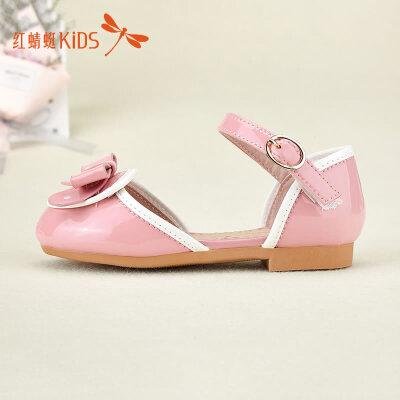 红蜻蜓童鞋新款包头可爱甜美蝴蝶结女童儿童公主小皮鞋512X61L219