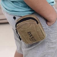 男士腰包帆布5/5.5寸手机包户外运动包可穿皮带挂包结实小巧烟包