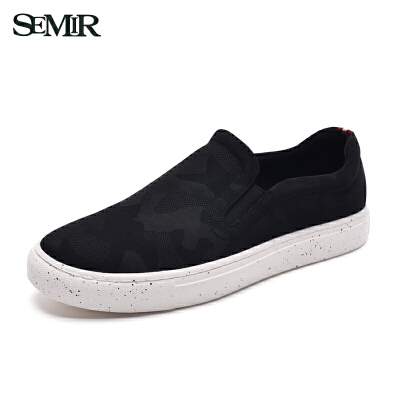 Semir板鞋男2017新款潮流布鞋滑板帆布鞋韩版休闲平底学生一脚蹬