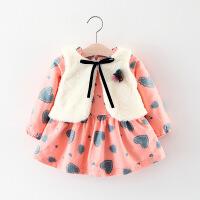 女童洋气时髦套装裙女宝宝公主连衣裙子小童婴儿0加绒冬装1-3岁潮