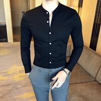 男士长袖衬衫春夏季薄款纯色衬衣夜店发型师酒吧韩版修身时尚寸衫