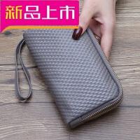 2018新款日韩长款女士钱包手包零钱包手机钱夹韩版编织手拿包潮女