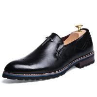 布洛克男鞋青少年尖头英伦雕花皮鞋发型师夜店韩版潮男鞋子懒人鞋