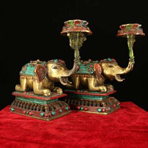 纯铜纯手工打造镶嵌宝石供桌摆放彩绘太平象油灯