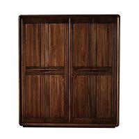 黑胡桃木全实木衣柜四门五门大衣柜现代新中式卧室原木定制家具 单门