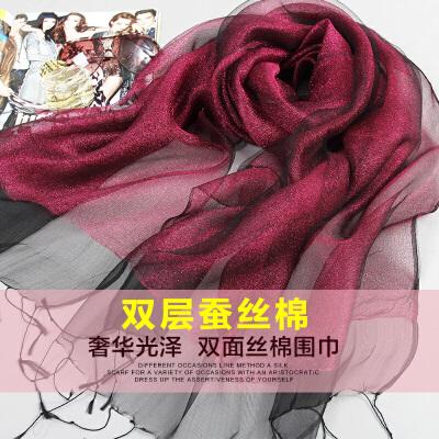 上海故事春秋桑蚕丝真丝双层双面丝巾女士围巾夏纱巾防晒披肩两用