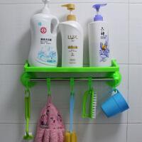 带挂钩强力吸盘置物架/卫生间用品挂钩 浴室毛巾架 吸盘收纳架 绿色