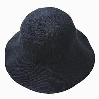 棉麻遮阳帽渔夫帽女日系针织盆帽韩国帽可折叠文艺小礼帽子夏 宽檐款