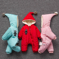 婴儿连体衣服冬季0岁5月2宝宝冬装新生儿套装棉衣加厚睡衣