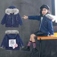 女童秋装儿童牛仔棉衣外套秋冬季加绒中大童潮衣