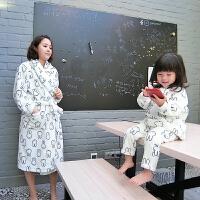 女童睡衣冬装2017新款小白兔儿童宝宝法兰绒亲子装睡衣套装
