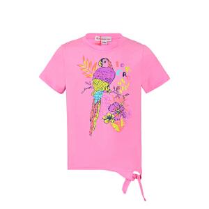 探路者TOREAD品牌童装 户外运动 夏装女童雨林系列圆领儿童短袖T恤