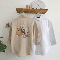 日系夏季新款男士港风七分袖衬衫韩版潮流学生休闲小清新寸衫外套