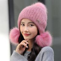 帽子女士冬天韩版新款百搭潮针织冬季保暖时尚护耳骑车防风毛线帽新品 均码有弹性