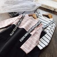 洋气~女童条纹假两件套连衣裙 儿童韩版拼接字母肩带长袖休闲裙子