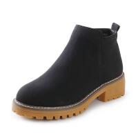 冬季新款加绒马丁靴女 复古纯色英伦风加厚保暖棉短靴子