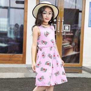 儿童睡衣 女童吊带印花花朵连衣裙2019夏季新款韩版时尚舒适中小童薄款睡裙家居服