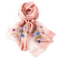 中年刺绣长款披肩薄妈妈真丝丝巾真丝围巾女士丝巾女