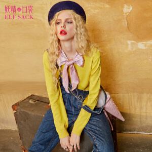 妖精的口袋甜味洛可可秋装新款宽松系带日系针织衫女短款