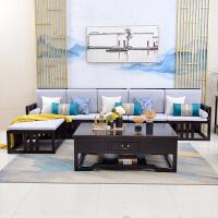 新中式冬夏两用实木沙发转角贵妃沙发中国风禅意客厅实木家具 组合