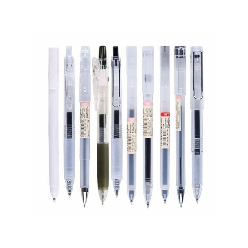 成田良品Narita 中性笔学生用黑色考试水笔拔盖款无印风简约套装成人商务办公大墨量签字笔书写流畅 无印风中性笔拥有大墨量笔芯·书写流畅防水
