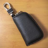 汽车钥匙包小巧钥匙扣包多功能锁匙包通用小车智能遥控包韩版男女 黑色 真皮(A款)