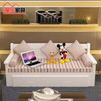 童乐北欧客厅小户型沙发宜家家居可折叠坐卧两用实木沙发旗舰