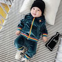 宝宝秋装长袖套装0-1岁婴儿运动服装两件套7外出衣服潮3-6-9个月