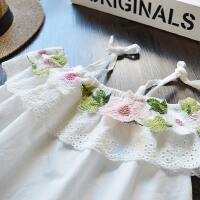 夏季薄款 女童棉布花朵吊带衫 2017新款 韩版刺绣娃娃衫 露肩上衣