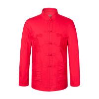 中老年简约唐装男式民族加厚外套 纯棉中式过寿立领棉衣潮