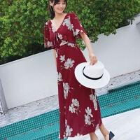 2018夏装新款海边度假连衣裙高腰裙子V领长裙女夏沙滩裙