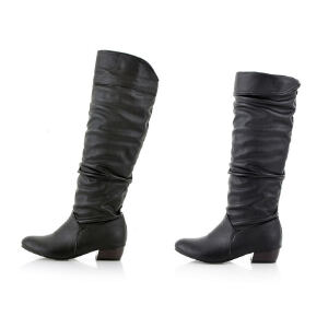 ELEISE美国艾蕾莎新品秋冬171-1-7韩版超纤皮中跟粗跟女士高筒靴