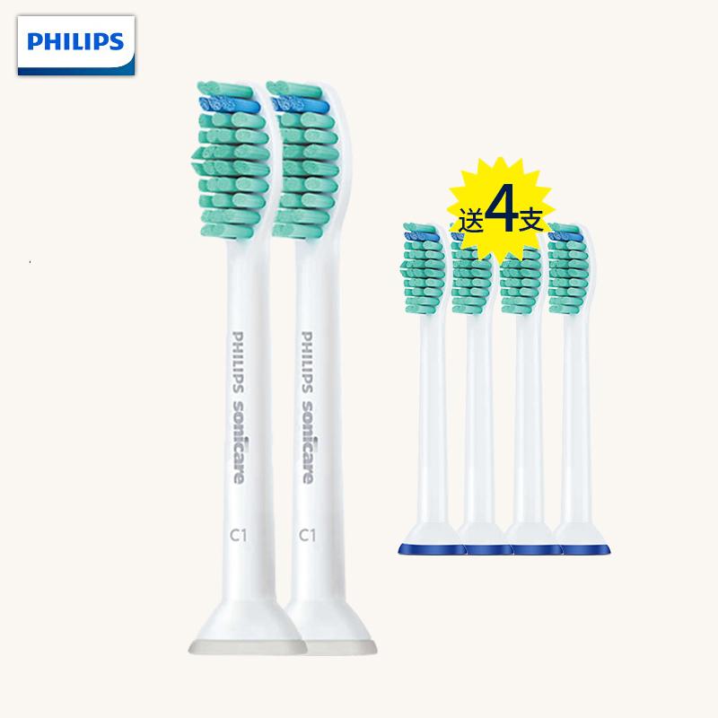 飞利浦(PHILIPS)电动牙刷头 HX6011 两支装 适用HX3120/3216/3226/HX6511/HX6730等系列型号 下单赠送4支通用牙刷头