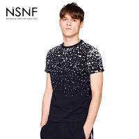 NSNF墨点印花黑色纯棉短袖修身男款T恤 男装短袖T恤2017新款 修身圆领针织短袖