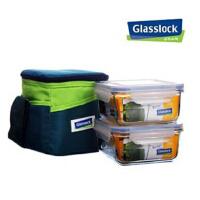 三光云彩GLASSLOCK玻璃饭盒微波炉专用保鲜盒保温套装3件套装GL35-B