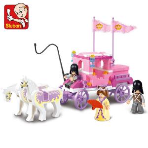 【当当自营】小鲁班粉色梦想女孩系列儿童益智拼装积木玩具 皇家马车M38-B0250