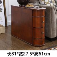 美式沙发边几角几实木边桌小茶几边角柜扶手柜欧式沙发边柜储物柜 A款双抽(81*27.5*61cm)棕