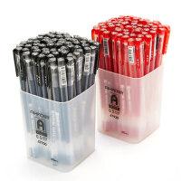 爱好中性笔0.5MM黑色红色简约全针管型水性笔办公学生用品文具碳素笔60支散装蓝色中性签字笔水笔