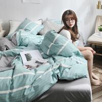 四件套全棉纯棉北欧水洗棉竖条被套单双人床单床上用品三件套床笠