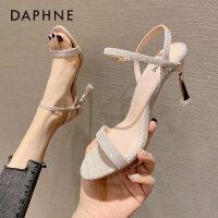 达芙妮2021年新款夏季女鞋韩版时尚仙女风露趾细跟一字带高跟凉鞋