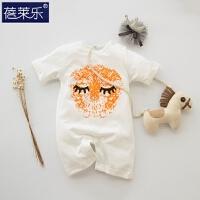 婴儿连体衣服宝宝新生儿哈衣5季潮款外出服3个月1短袖睡衣