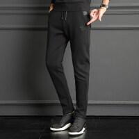 男裤子韩版潮流2018冬季新款修身学生加绒加厚男士束脚休闲运动裤 Q787黑色