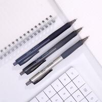得力文具S15学生考试用笔办公用笔0.5mm子弹头黑色按动中性笔12支 包邮