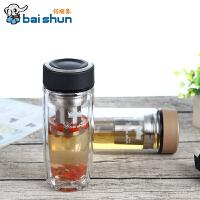 香港佰顺象玻璃杯BSX-SJ360双层耐热水晶玻璃杯/办公杯 360ml
