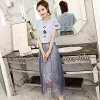 2018新款连衣裙韩版夏天女显瘦气质冷淡风学生长裙套装裙子夏