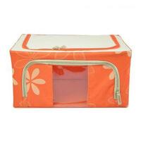 普润 55L橙色 牛津布钢架百纳箱 整理收纳箱 橙色树叶 单视 双开门