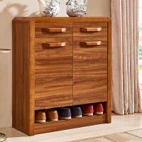 鞋柜实木 简约现代鞋柜 大容量多层客厅门厅柜 多功能储物柜 三门鞋柜 (送货并安装) 组装