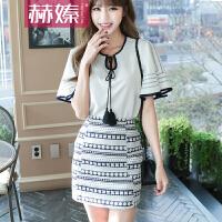 【hersheson赫��】2017夏夏季新款上衣半身裙套装女民族风A字裙休闲两件套H6674
