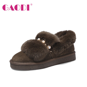 高蒂雪地靴女短筒加绒保暖冬新款韩版短靴牛反绒珍珠兔毛百搭靴子